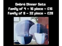 CHUNKY GREY OMBRÉ STONEWARE DINNER SETS 16/32 PIECE. NEW IN BOX