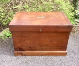 19th Century Teakwood Traveling/Shipping Trunk/Chest