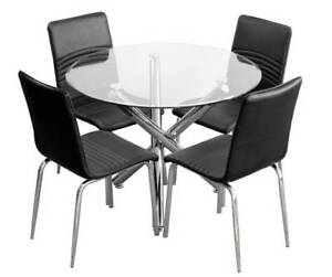 New Round Tempered Beveled Glass Table 239 Chair 99