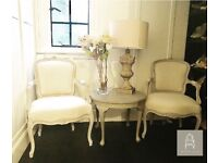 French Louis Style Grey and Beige Chair