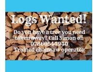 Logs Wanted! Trees blown down? We can cut them up & take them away!