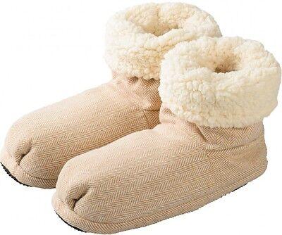 Welle Flach Frauen Schuhe (Mikrowellenschuhe Hot Boots Comfort beige - Wärmehausschuhe 37-41)