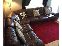 Large brown corner sofa
