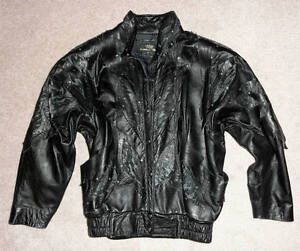 Ladies Leather Jacket with Rhinestones, Lace & Rivets- Gorgeous!