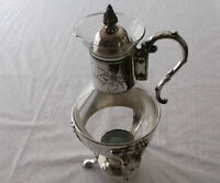 Vintage SILVER PLATED COFFEE / TEA POT WITH LID & BURNER STAND