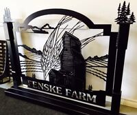 Farm sign, business sign, gate sign, metal sign, custom sign.
