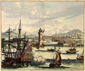 Large-A1-Antique-Repro-Colour-Picture-of-Havana-Harbour-La-Habana-Cuba-Plan-New