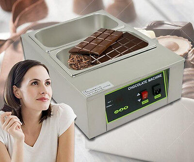 CE Commercial 2-Tanks Chocolate Melting Warmer Temperer Electric Melter Machine