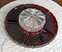 Ruby Glass Condiment Set With Covered Center Dish and Tray