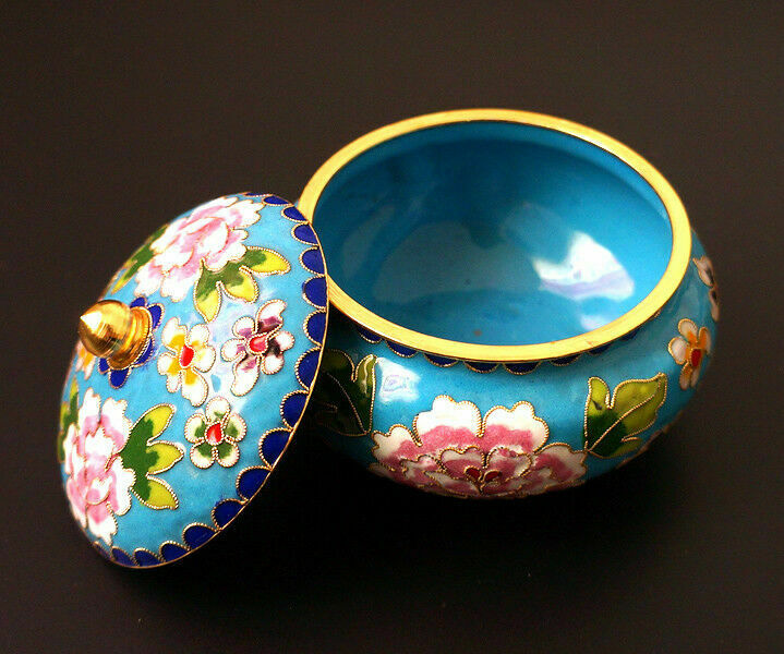Superb Old Decora Tion Brass & Enamel Cloisonne Storage Pot & Circular Base M