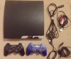 PS3 Slim 160GB Charcoal Black with Games inc. Fifa 16 + GTA 5. Plus 2 controllers