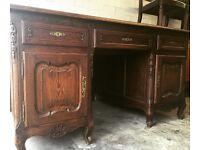 Antique large solid wood double sided partner desk