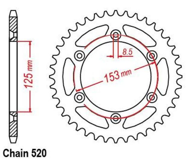 KR Kettenrad 49Z Teilung 520 HONDA XR 650 R RE01 2000-2007 ... Rear sprocket