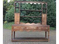 Antique 19th Century Oak Welsh Dresser with Plate Rack Pot Board