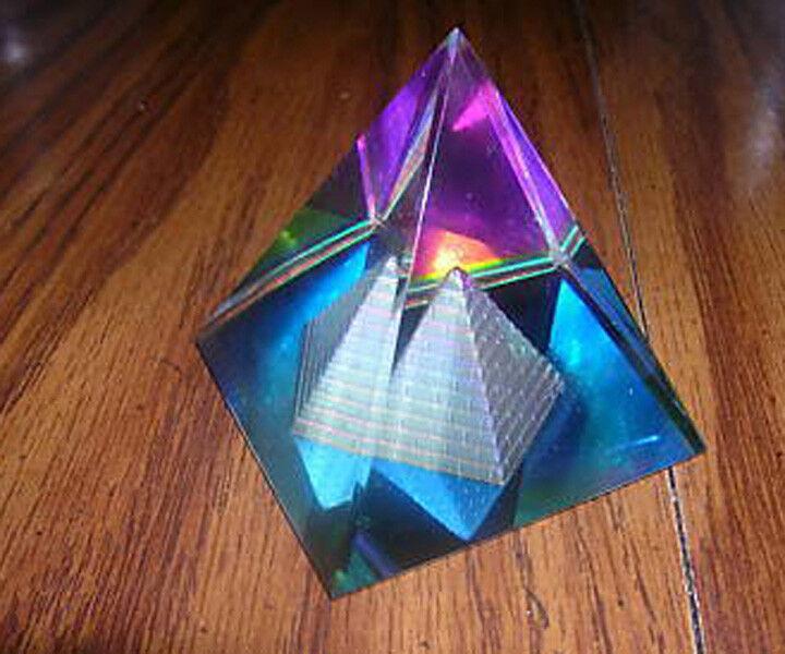 Magical Egypt Egyptian Lead Crystal Rainbow Pyramid Prism 50mm X 2 X 2 1/2