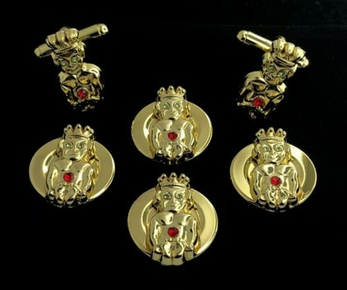 Royal Order of Jesters Button Cover & Cuff Link Set with Stones (ROJ-BCCL)