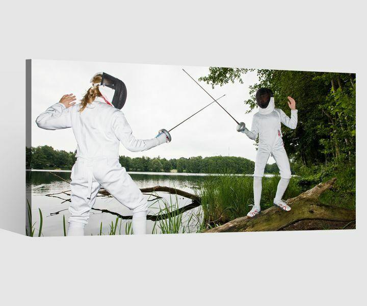 Leinwandbilder Fechten Sport Sportler Leinwand Bild Wandbild Holz 9BD450