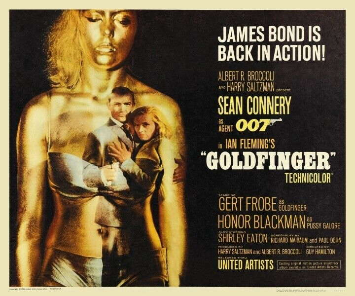 Goldfinger POSTER Sean Connery 1964  - James Bond SEXY & AMAZING ART