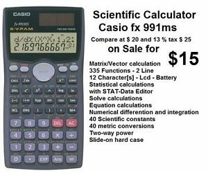 Scientic Calculator Casio FX991MS PLUS 335 Functions 2 Lines 12 Character[s]  Lcd  Two way Power solar and Battery