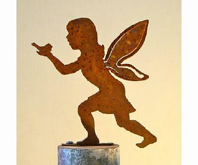 Rusty Metal Girl Fairy w/ Bird Silhouette Accent for Garden, Inside, Outside Use