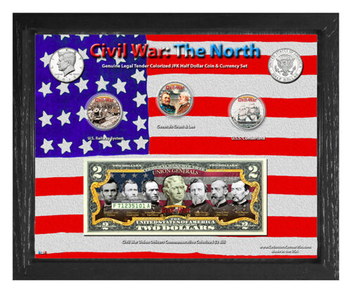 """Civil War: The North Colorized Coin & Currency Set in 8"""" x 10"""" Frame"""