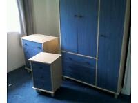 3 PIECE BLUE AND PINE BEDROOM SET