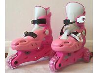 Girl's adjustable tri-skates. Pink.
