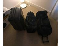 Three Black Travel Bags of Various Type & Size, Suitcase, Hard/Soft Case, Carry On