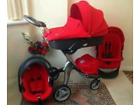 Stokke Xplory v4 Red complete travel system+carseat + carrycot + etc EXCELLENT CONDITION