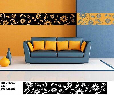 Wandtattoo selbstklebend Bordüre Blumen Pusteblume Aufkleber Wohnzimmer 1U057