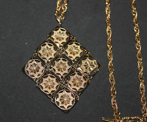 Vintage D'Orlan Gold-Tone Nine square design Necklace Kingston Kingston Area image 4