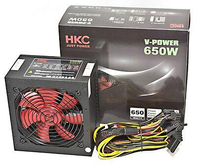 Netzteil 650 WATT HKC® GAMER PC Computer ATX SATA PCI-E SILENT 12cm Lüfter 120mm