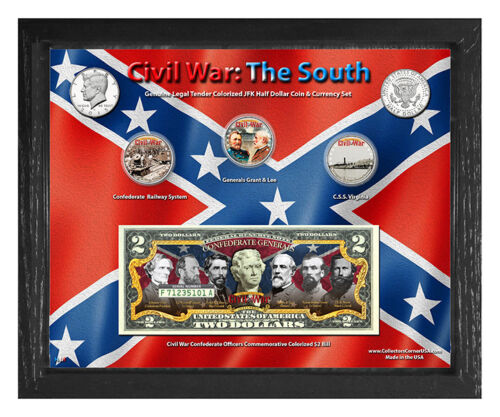"""Civil War: The South Colorized Coin & Currency Set in 8"""" x 10"""" Frame"""