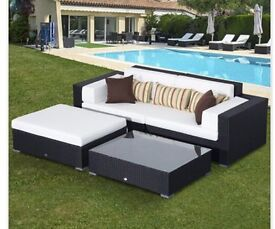 New 4 Piece Black Rattan Sofa Furniture Garden Set Outsunny Weather Cover £700