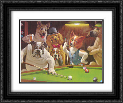 The Hustler / Dogs Playing Pool 2x Matted 24x20 Framed Art by Arthur Sarnoff