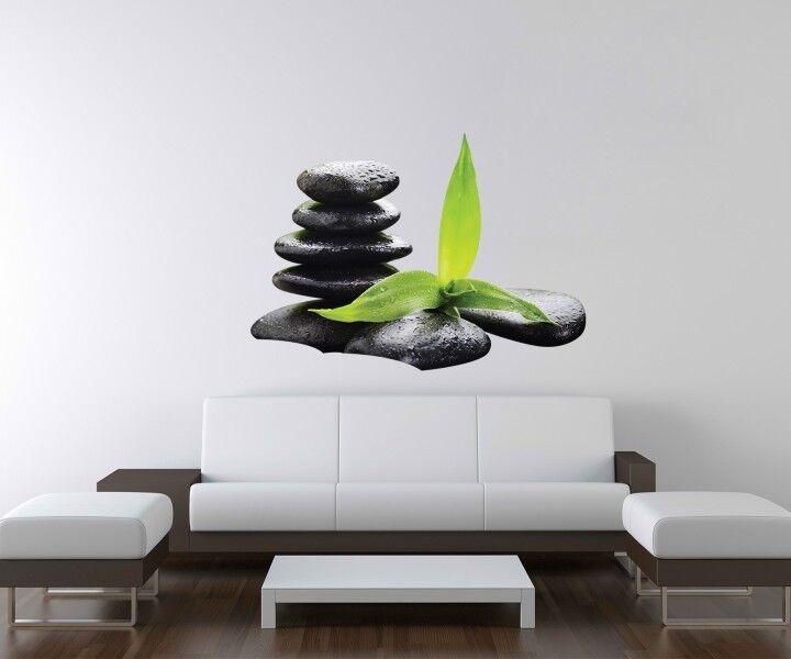 3D adesivo murale Wellness PIETRA YOGA bambù MASSAGGIO parete a3d92