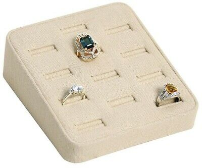 Beige Natural Linen 12 Slot Ring Tray Jewelry Store Pawn Shop Display