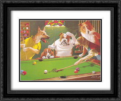 Jack the Ripper / Dogs Playing Pool 2x Matted 24x20 Framed Art by Arthur Sarnoff