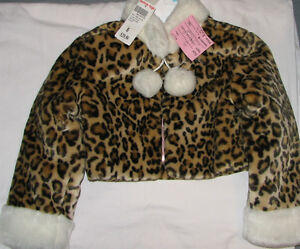 Size 5 Girls Animal Fur Print Coat - NEW $30+