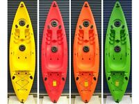Mamboola Epic single person sit on top kayak with backrest & paddle and side fishing rod holders.