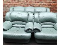 Green leather suite free delivery