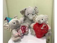 3 x Elephant Teddy Bear set