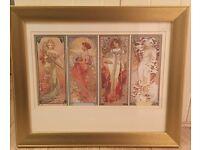 Four seasons art nouveau print in gold frame