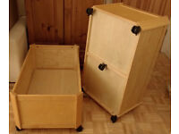2x PINTOY large wooden storage boxes on castors - double size