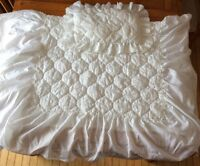 White Satin Embroidered Crib Coverlet and Pillow