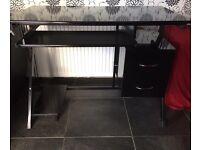 Black, high gloss computer table. 100cm W 58cm deep 69 cm high