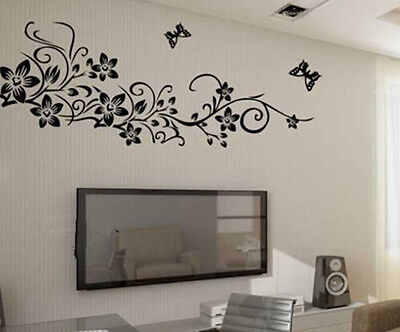 Flower Butterfly Black Living Room Wall Stickers Vinyl Art DIY Home Decor Mural