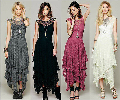 Women Lace Dress Sheer Lace Party Casual Prom Evening Cocktail Long Vintage