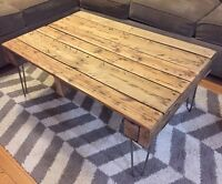 Rustic Solid Oak Reclaimed Wood Coffee Table on Hairpins