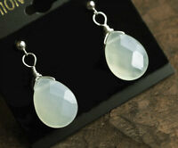 Earrings Platinum Plated Sterling Silver New Jade